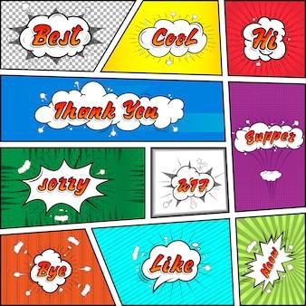 Komiks kolekcja kolorowy dźwięk czat efekty tekstowe stylu pop-art wektor. czcionki 3d.