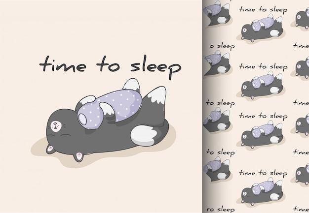 Komiks kreskówka płaski kotek śpi ładny