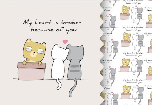 Komiks kreskówka płaski kotek złamane serce