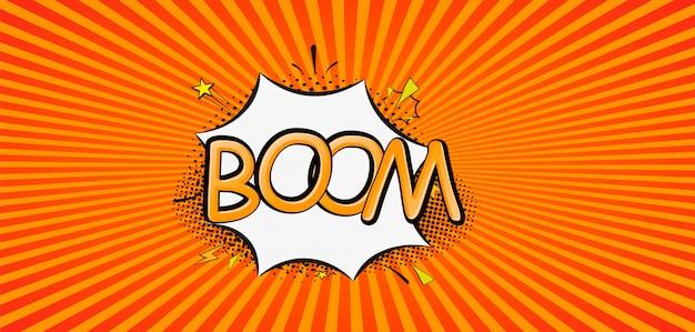 Komiks kreskówka wybuchy ilustracji. comics boom! symbol, przywieszka, etykieta oferty specjalnej, plakietka reklamowa. podpisz baner. komiks dymek huk. chmury do eksplozji, takie jak huk. pop art