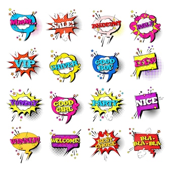 Komiks mowy chat bubble set pop art style sound expression tekst ikony kolekcja