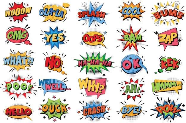 Komiks pęcherzyki doodle zestaw. kolekcja wybuchów kolorów emocjonalnych kreskówek śmieszne komiczne mowy chmury komiksy słowa myślenie sen pęcherzyki tekst konwersacja ilustracja