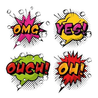 Komiks pop-art dymki kolorowe efekty retro