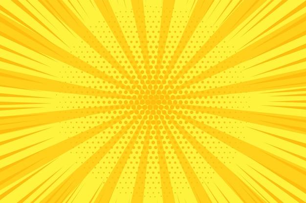 Komiks pop-artu. tło rastra. żółty nadruk w kropki. sztuka tekstura kreskówka. geometryczny baner bichromii z efektem półtonów. gradientowy projekt. tło śmieszne superbohatera. ilustracja wektorowa