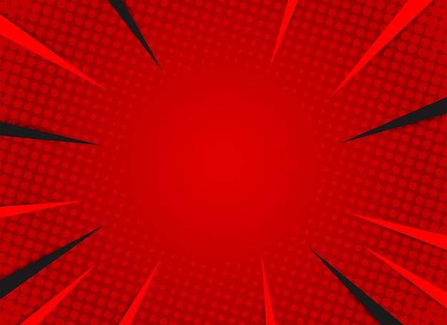 Komiks retro promienie. czerwone tło rastra gradientu. styl pop-artu.