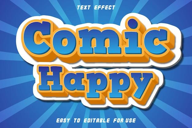 Komiks szczęśliwy edytowalny efekt tekstowy wytłoczony styl komiksowy