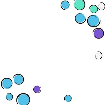 Komiks tło z konfetti pop-artu w kropki. duże kolorowe plamy, spirale i koła na białym tle. ilustracja wektorowa. hipster dziecięcy splash na przyjęcie urodzinowe. tęcza tło komiks.
