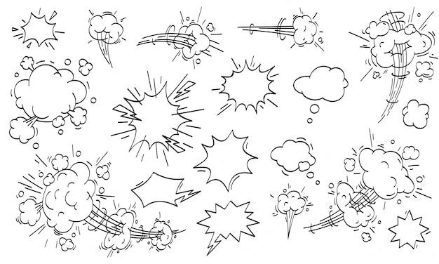 Komiks w chmurze prędkości. zestaw chmur szybkiego ruchu kreskówka