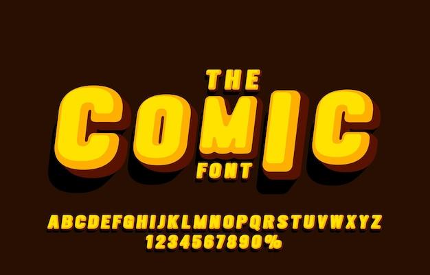 Komiks zestaw czcionek kolekcji liter i cyfr symbol wektor