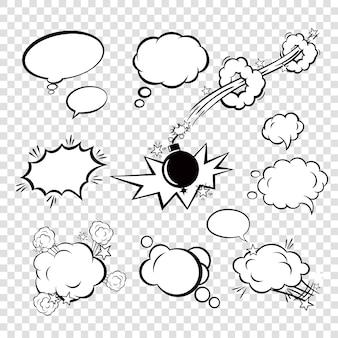 Komiks zestaw pęcherzyków