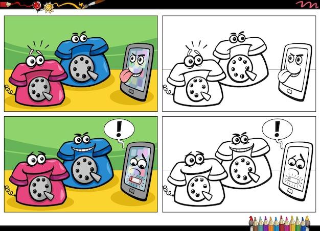 Komiksowa historia z przestarzałymi telefonami i kolorowanką ze smartfona