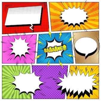 Komiksowa kompozycja kolorowa z dymkami, strzałkami, błyskawicami, dźwiękiem, promieniami i różnymi efektami rastra