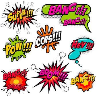 Komiksowe dymki wybuchają boomem, wow, hej, ok, omg, crash. do plakatów, kart, banerów, ulotek. wizerunek