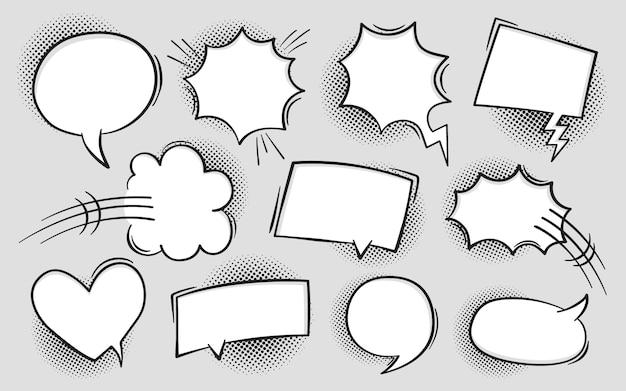 Komiksowy dymek w stylu pop-art z cieniami półtonów. rozmowa czat retro mów wiadomość. pusty biały pusty komentarz
