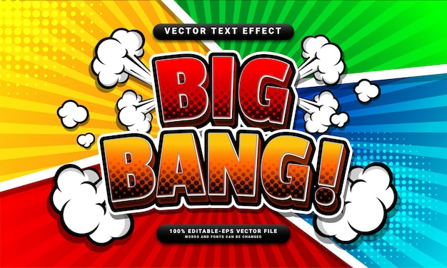 Komiksowy, edytowalny efekt tekstowy big bang odpowiedni dla koncepcji stylu kreskówki