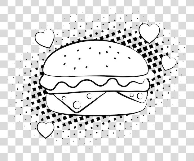 Komiksowy hamburger z cieniami półtonów. fast food tło w stylu retro pop-artu. wektor ilustracja eps 10 na białym tle.