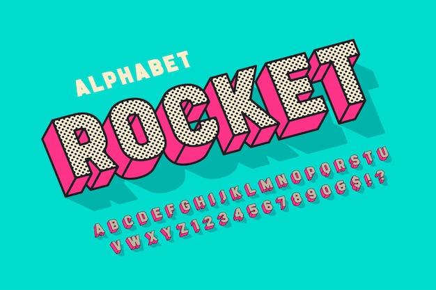 Komiksowy projekt czcionki 3d, alfabet, litery i cyfry.