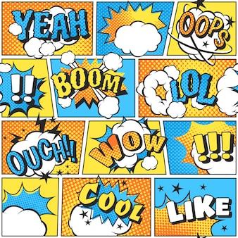 Komiksowy styl dźwięku boomu w wektorze pop-art.