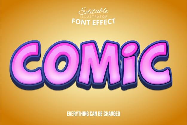 Komiksowy tekst, efekt edytowalnej czcionki 3d fioletowy i pomarańczowy