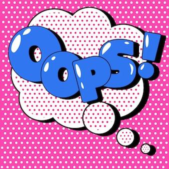 Komiksy bubble oops w stylu vintage