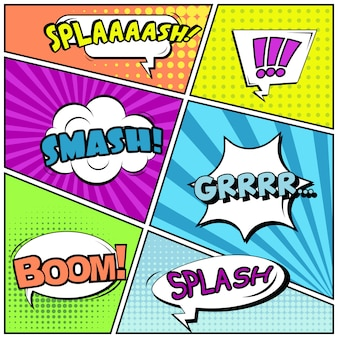 Komiksy lub winiety w stylu pop-art z dymkami: splaaash, smash, boom!