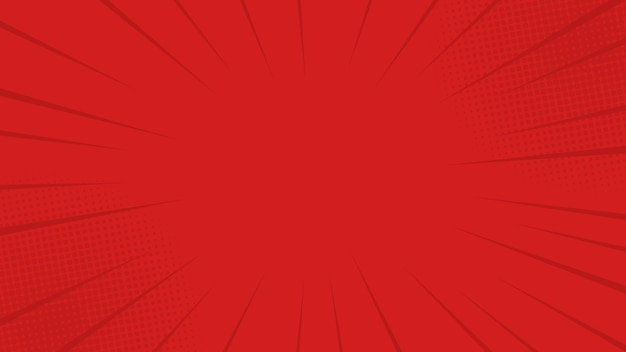 Komiksy promienie czerwone tło z półtonami. w stylu retro pop-art dla komiksu, plakatu, projektu reklamowego