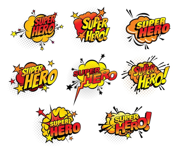 Komiksy superbohatera pół tonu pęcherzyki na białym tle ikony. kreskówka pop-artu retro dźwięk chmury wybuchy z gwiazdami i kropkowanym wzorem. boom bang kolorowe symbole superbohatera z zestawem typografii