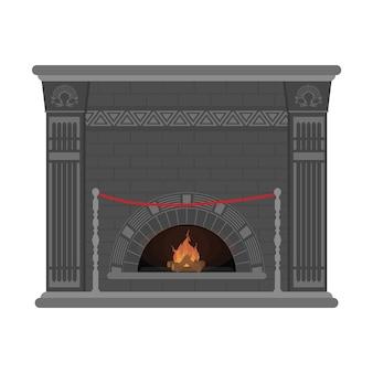 Kominek na białym tle na białym tle. klasyczny kominek z pilastrami i szarej cegły. element wnętrza salonu.