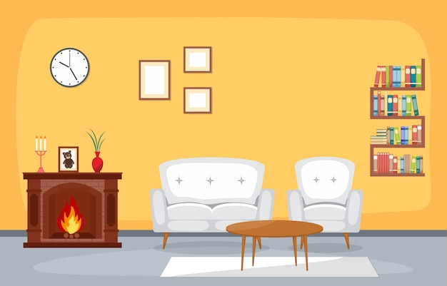 Kominek pokój dzienny dom rodzinny meble wewnętrzne ilustracji wektorowych
