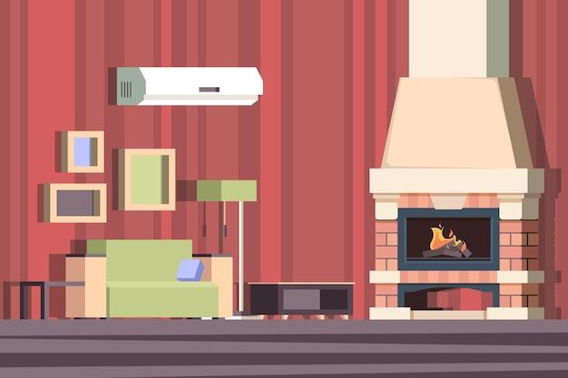 Kominek we wnętrzu. zrelaksuj się z kanapą w pokoju w pobliżu urządzone tło wektor kreskówka kominek. ilustracja wnętrza kominka, drewno opałowe w pokoju