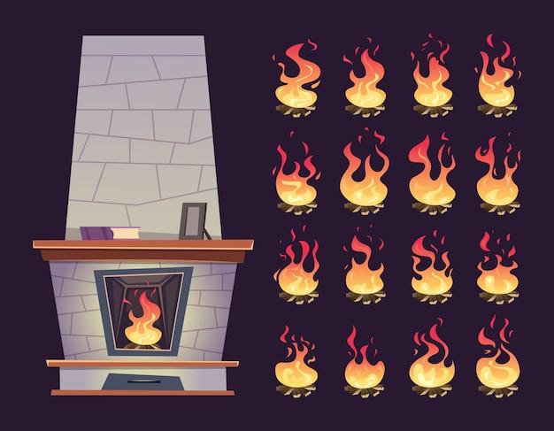 Kominek wewnętrzny. animacja klatki kluczowej płonącego kominka dla relaksu kreskówek wektorowych