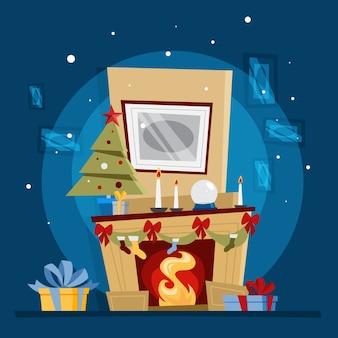 Kominek z dekoracją świąteczną i prezentem na nim. przytulny element wnętrza pokoju domowego. ciepło od płomienia. ilustracja