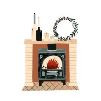 Kominek z płaskich ilustracji ozdób choinkowych. świąteczna atmosfera nowego roku