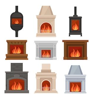 Kominki z ustawiającym ogieniem, kamiennymi i żeliwnymi kominami ilustracje na białym tle