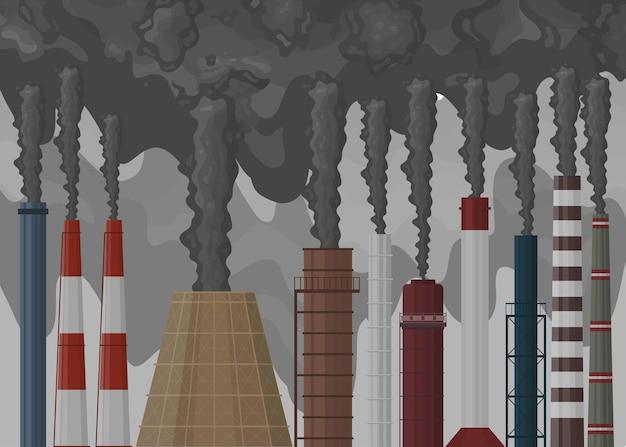 Kominy ustawione w stylu płaski. komin fabryczny z czarnym dymem. zanieczyszczenie środowiska. ciemny pył w tle. ilustracja wektorowa.