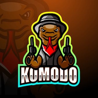 Komodo mafia maskotka e-logo ilustracja