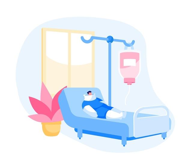 Komora kliniki z zabandażowaną postacią pacjenta leżącą na łóżku ze związanym ciałem
