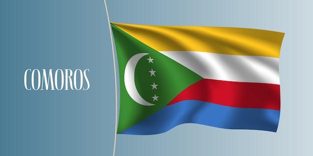 Komory macha flagą. ikoniczny element projektu jako flaga narodowa