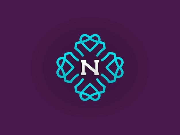 Kompaktowy monogram lub szablon projektu ikony z ilustracją listową premium eleganckiej jakości