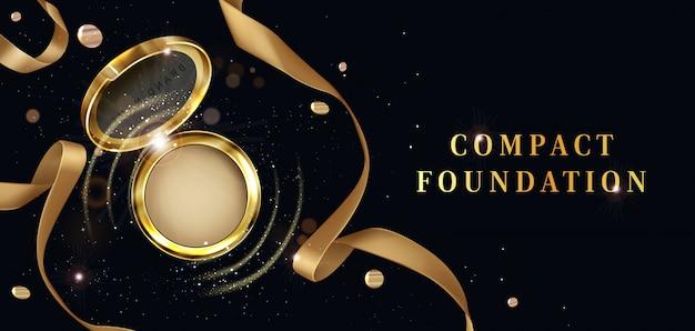 Kompaktowy podkład, kosmetyki w proszku, otwarty plakat reklamowy ze złotym słoikiem. zestaw kosmetyków do makijażu, kosmetyk do pielęgnacji twarzy