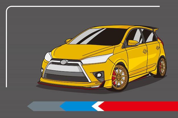 Kompaktowy samochód w kolorze żółtym do infografiki