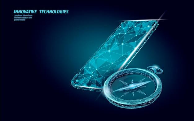 Kompas 3d low poly. koncepcja biznesowa globalna strategia międzynarodowa.