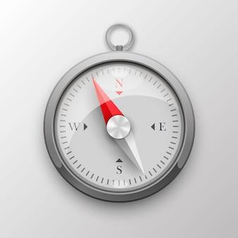 Kompas 3d na białym tle. ilustracja wektorowa