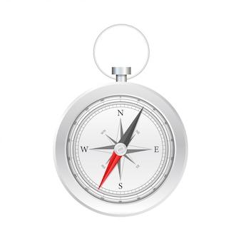 Kompas na białym tle. płaski symbol nawigacyjny. ilustracji.