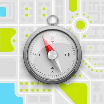 Kompas nawigacyjny na mapie miasta. ilustracja wektorowa