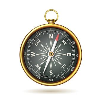 Kompas realistyczny na białym tle