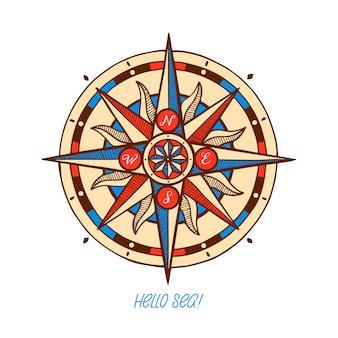 Kompas róża wiatrów. ręcznie rysowane średniowiecznej róży wiatrów