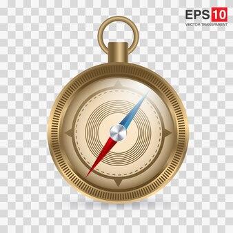 Kompas w stylu retro lub w stylu retro w błyszczącym metalowym pudełku