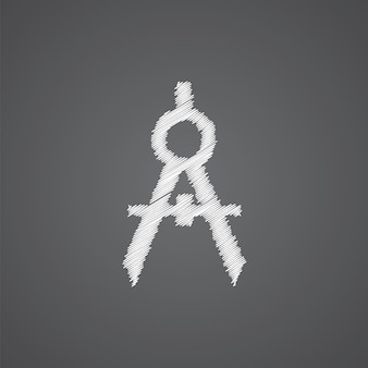 Kompasy szkic logo doodle ikona na białym tle na ciemnym tle