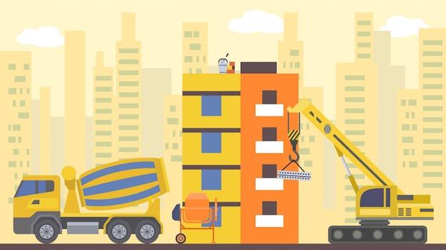 Kompilacja strony, ilustracja. dom z dźwigiem, koncepcja przemysłu architektury domu i rozwój miast.